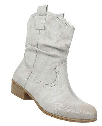 Damen Schuhe Stiefeletten | Cowboy Stiefel | Westernstiefel | Karneval Stiefel | Halbschaft Stiefel | Leder-Imitat Boots | Hellgrau 40