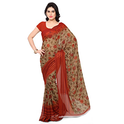 Kashvi Sarees Faux Georgette Orange & Multi Color Printed Saree With Blouse Piece ( 1154_2 )  available at amazon for Rs.249