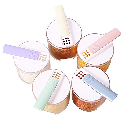 Tragbares Gerät Satz von 4 Gewürz-Shaker-Gewürz-Flaschenglas-Würzvorratsbehälter mit Behälter für Salz-Zucker-Karotte Geeignet für studentische Büroangestellte und SPOR