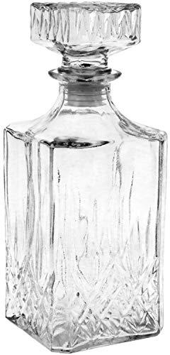 com-four® Klassische Glas-Karaffe für Whiskey, Cognac, Likör, Whiskey-Karaffe ca. 900 ml (001 Stück - Whisky)
