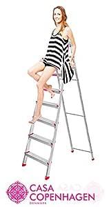Casa Copenhagen Eternal Classic Ultra-Stable Aluminium 7-Step Foldable Ladder 221 cm 7.25 ft (Silver)