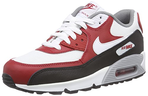 Nike - Air Max 90 Mesh (Gs), Scarpe da ginnastica Bambino Multicolore (Mehrfarbig (White/White-Gym Red-Black))