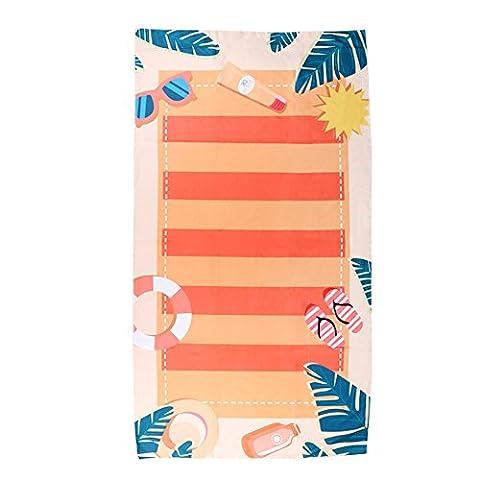 Blackhumor Serviette de plage/piscine pour piscine/Sunbath Serviette de voyage, couverture de plage à séchage rapide, léger et compact, DE Grande taille 149,9x 78,7cm