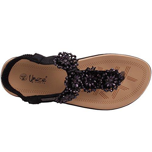 Unze Le nuove donne Ladies 'Imoga' floreale abbellito il Carnevale di estate della spiaggia dei sandali Scarpa 3-8 Nero