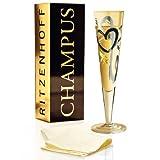 RITZENHOFF Champus Champagnerglas von Thomas Marutschke, aus Kristallglas, 200 ml, mit edlen Gold- und Platinanteilen, inkl. Stoffserviette -