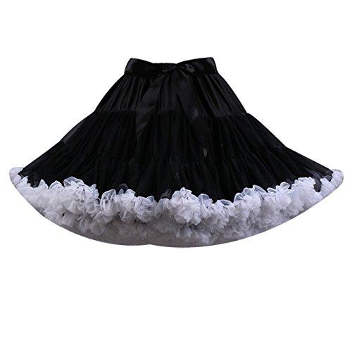 Omela Damen Mädchen Rockabilly kostüm Tüllrock Minirock 50er 60er Jahre Cosplay Vintage Kurz Tutu Rock Tanzrock mit (Jahre 60er Kostüme Frauen)