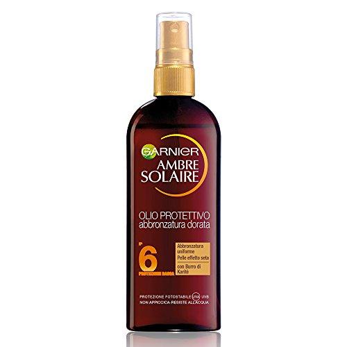 Garnier Ambre Solaire Protezione Solare, Olio Protettivo Abbronzatura Dorata con Burro di Karitè IP6, 150 ml