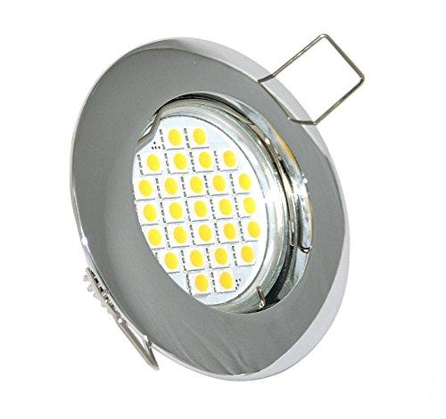 LED Einbaustrahler Aluminium Zink Druckguss Farbe Chrom GU10 5W LED kaltweiß 430lm 50mm LED nicht dimmbar Abstrahlwinkel 120Grad 6000K LED austauschbar Deckeneinbaustrahler