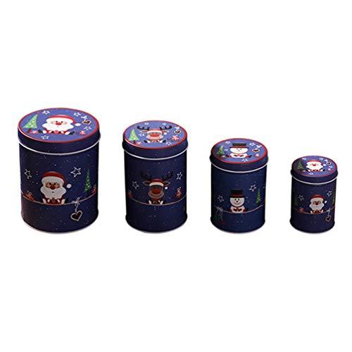 Happyyami 4 stücke weihnachtskeksdosen süßigkeiten Geschenk Schokolade behandeln Boxen vorratsgläser behälter mit Deckel Weihnachtsfeier liefert (blau)