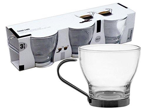 AVENUELAFAYETTE Set de 3 Tasses à café en verre 10 cl