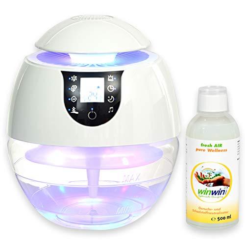winwin clean Systemische Reinigung - AIR Blow III I Bluetooth I IONISATOR I LED I 3 LEISTUNGSSTUFEN I INKL. LUFTREINIGUNGS-Konzentrat Fresh AIR \'Wellness\' 500ML