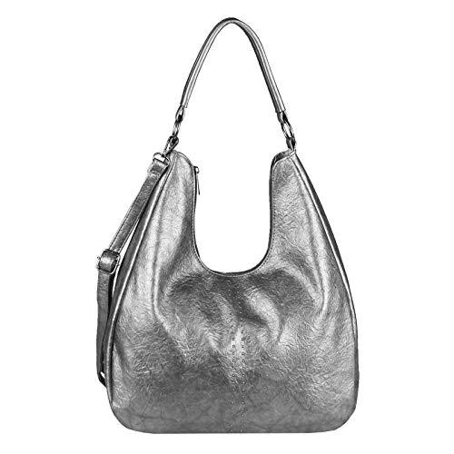OBC Damen Tasche Shopper Hobo-Bag Metallic Henkeltasche Schultertasche Umhängetasche Handtasche Crossover Leder Optik Beuteltasche (Antik Silber 35x26x13)