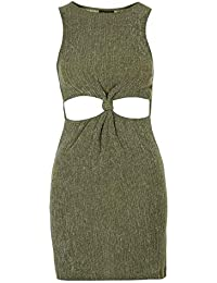Ex Topshop Green Cut Out Soft Sexy Bodycon Party Mini Dress Size 6 8 10 12 9645aa7f2