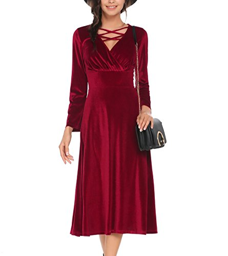 Meaneor Womens Retro Empire Waist Long Sleeve V Neck Pleated Red Velvet Party Maxi Dress