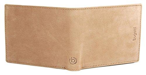 BUGATTI Echtleder Herren Portemonnaie im Querformat, Hochwertige Brieftasche mit Klappfach aus echtem Leder (Schwarz) Hellbraun