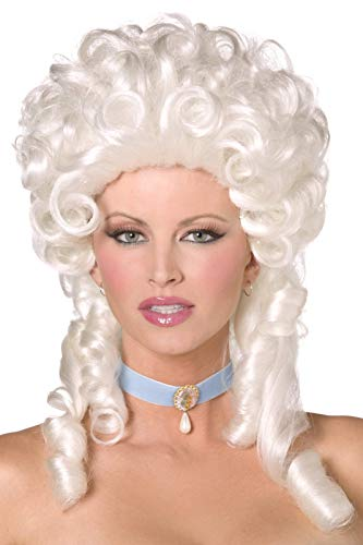 Kostüm Renaissance Weiblich - Smiffys Damen Lockige Perücke mit Korkenzieherlocken, Barock Perücke, Weiß, One Size, 42122