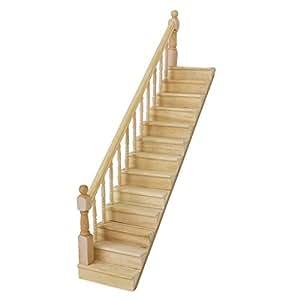 Escalier en Bois Rampe Gauche Prémonté pour Maison de Poupées