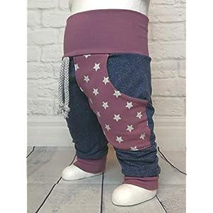 Baby Pumphose mit Tasche Gr.50-104 Sterne Jeansblau Malve handmade Puschel-Design