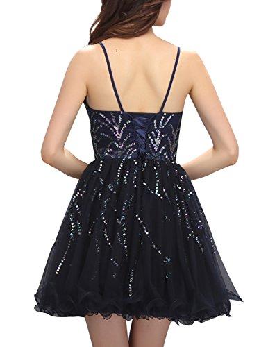 Dresstells Robe de soirée de cocktail Robe de demoiselle d'honneur en tulle col en cœur bretelles spaghetti Noir