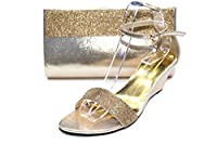 W & W-RUTH & GLAM WOMENS Crystal Diamante Shoes & Matching Bag SIZE 4 - 10(Silver,Gold,Royal Blue) (5, Gold)