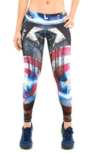 Fiber Leggings Superhero Yoga pantalones de mallas de compresión