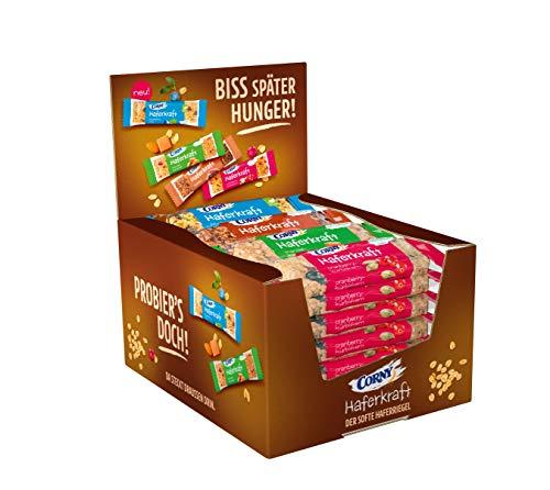 CORNY Haferkraft Mix-Box, weiche Schoko-, Blueberry-Chia-, Mandel-Karamell- und Cranberry-Kürbiskern-Haferriegel im 24er Pack (24 x 65 g Riegel)