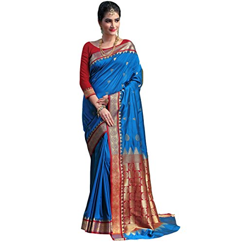 Craftsvilla Women's Silk Traditional Temple Border Blue Saree with Blouse Piece