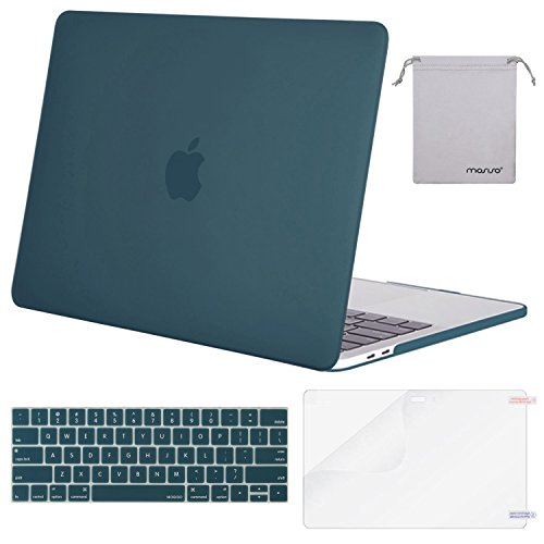 MOSISO Kunststoff Hard Case Shell & Tastatur Cover & Screen Protector für neueste Mac Pro 15 Zoll Touch Bar A1990/A1707 Deep Teal (Mac 15 Protector Screen)