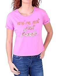Madonna T-Shirt Damen ZAIN Rundhals Pailleten Aufdruck Short Cut Shirt MF-406974