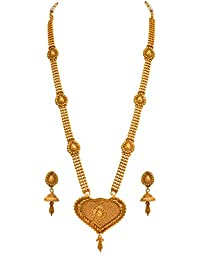 JFL- Traditional Ethnic One Gram Gold Plated Bead Designer Long Necklace Set With Jhumki Earrings For Women &...