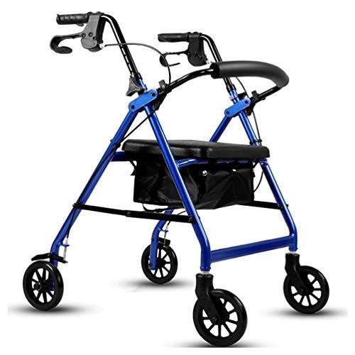 CIDX Rollator Walker for Senioren - Blau/Rot Medizinischer Rollator Mit Rädern, Sitz, Rückenlehne Und Aufbewahrungstasche - 8-Fach Höhenverstellbar - Dauerhafter Aluminiumrahmen Traglasten Von Bis 2 -
