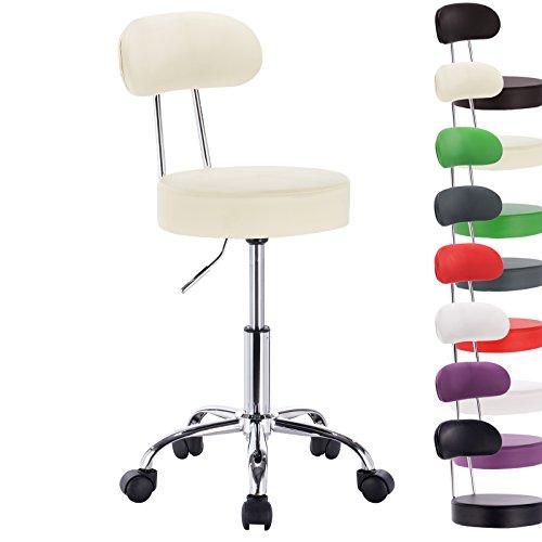1 Stück Praxishocker Arbeitshocker Drehhocker Rollhocker Drehstuhl Hokcer Bürostuhl Stuhl mit Lehne höhenverstellbar Creme BH34cm-1