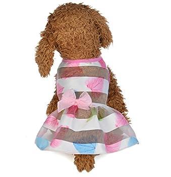 EoamIk Belle Vêtements pour Chats Vêtements pour Animaux de Compagnie Printemps et en été Robe de Princesse de Mode Mignon-Rose Maple Leaf L