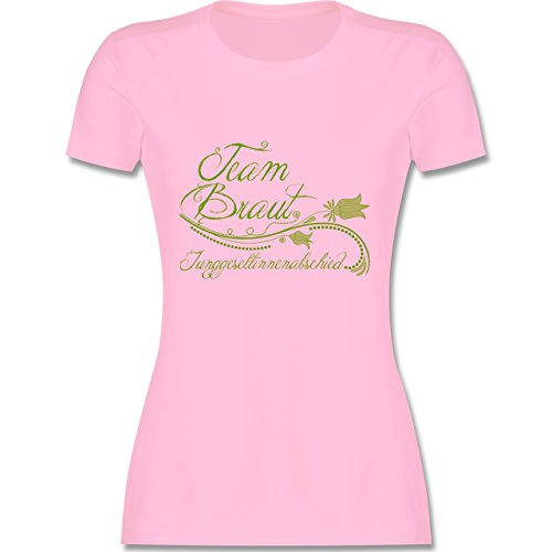 JGA Junggesellinnenabschied - Team Braut verspielt Blumenranken - tailliertes Premium T-Shirt mit Rundhalsausschnitt für Damen Rosa