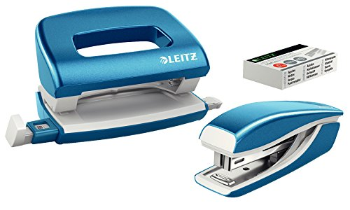 Leitz 55612036 Mini-Heftgerät-und Locher-Set (für bis zu 10 Blatt, Inkl. Heftklammern, WOW) metallic blau