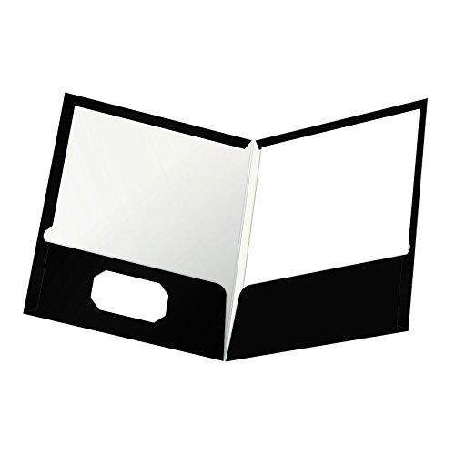 Oxford 51704 Portfolios, laminiert, 100 Blatt, 2 Taschen, 25 Stück schwarz Black High Gloss Oxford