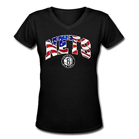 Yrewer Women Brooklyn Nets Banner Wave Logo 2016 V Neck T-shirts 100% Cotton
