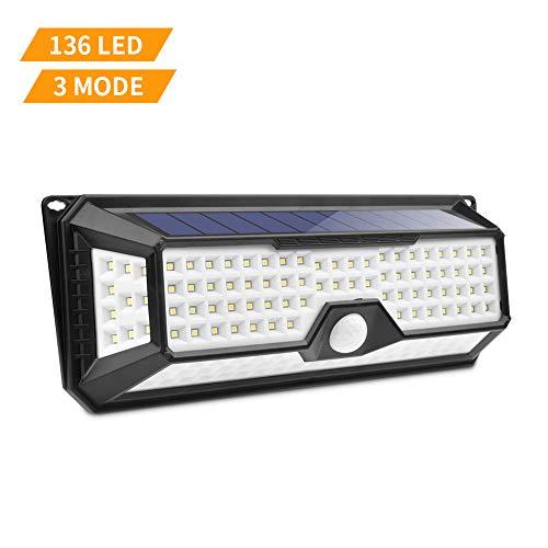 Luce Solare LED Esterno,Lacyie 136LED Lampade Solare da Esterno con Sensore di Movimento,Impermeabile IP65 Luci Solari,Illuminazione Esterno Giardino,Faretti Solari Esterno per Giardino,Patio,Cortile