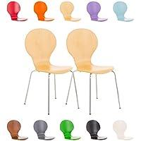 CLP Juego de 2 sillas apilables robustas Diego con un Asiento de Madera & de Forma Ergonómica, Limpieza Muy Fácil, 12 Colores para eligir Madera Natural