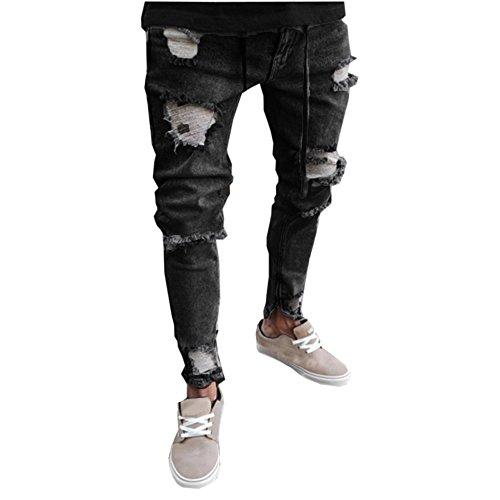 Jeans uomo stretti alla caviglia ★wqianghzi★ jeans strappato skinny slim fit con tasche laterali pants denim zip stile street moda pantaloni tuta (3xl, grigio scuro)