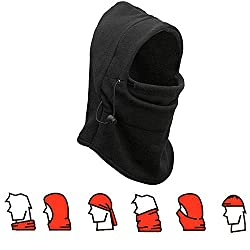 Neck Warmer Ski Hat,Richoose Double Layers Thermal Warm Fleece Thicken Balaclava Hood Full Face Cover Mask Winter Wind Proof Stopper Hat Neck Warmer For Outdoors Snowboarding Ski Motorcycle (Black)