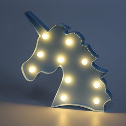 MAIMAI Lovely Unicorn Night Lights Mood Nights for Kids Children Sweet Nursery Room Decorations Standing light(Blue)