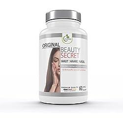 LifeWize® Beauty Secret - Schöne Haut Haare Nägel Kapseln - Hochdosiert mit Biotin, Zink, Vitamine, Eisen, Beta-Carotin, MSM, Selen uvm. - Aus Deutschland & Ohne Zusatzstoffe