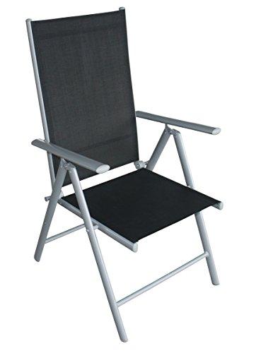 DEGAMO 4X Klappsessel Ravenna Alu Silbergrau + Textilgewebe schwarz, 7-Fach verstellbar, wetterfest