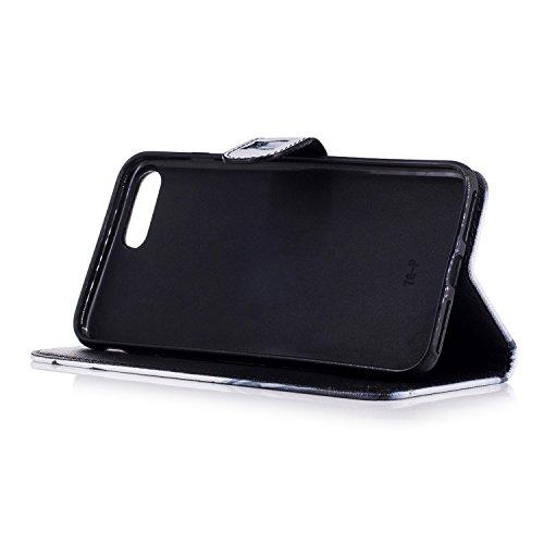 iPhone 7 Plus/iPhone 8 Plus 5.5 Cover a Libro,BtDuck Morbido Slim Custodia Pelle Borsa e Portafoglio Tasca Progettato Creativo Divertente Funny Animale Modello Flip Cover Case Morbido Silicone Back Ca 7 Plus/8 Plus-Carino Gufo