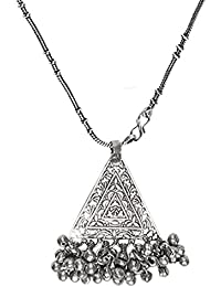 The Indian Handicraft Store Flower Triangle Ghungroo Chain Necklace