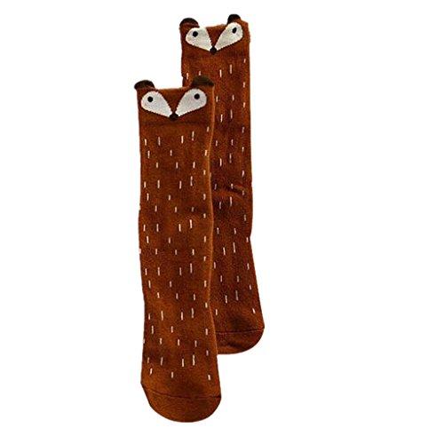 Ouneed® Baby Skid Socken , Kleinkinder Kinder Mädchen Fox Muster Kniestrümpfe (Länge: 27cm Alter 1-3 Jahre, Kaffee)