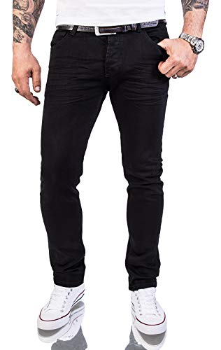Rock Creek Herren Jeans Hose Slim Fit Stretch Jeans Schwarz Herrenjeans Herrenhose Denim Rinsedwash Knitter Look Stretchhose RC-2146 Pureblack W33 L34 -