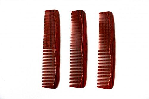Bilson 3 Stück Taschenkämme Rot-Schwarz marmoriert, 13cm - Ideal für Jackentasche