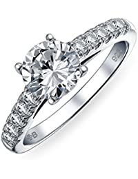 Bling Jewelry Plata Esterlina Allanar CZ redondo Solitario Anillo de Compromiso